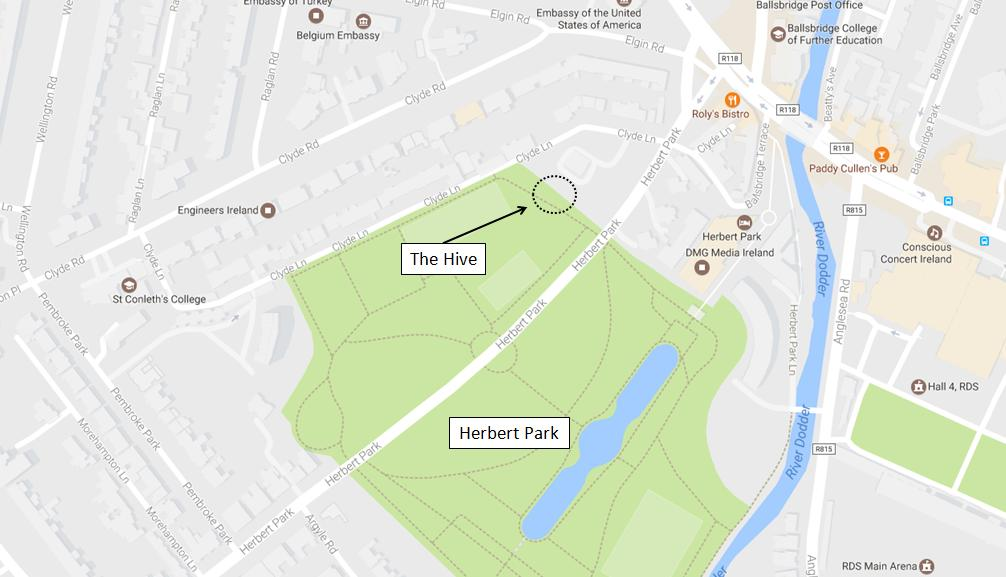 The Hive Herbert Park Location Map